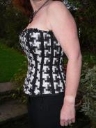 Black and white tweed corset