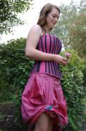 Pink silk skirt and corset
